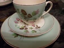 "Johnson Broths.trio 7""plate,cup+saucer green/cream &pink rose buds vintage"