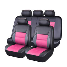 CAR PASS Breathable Pink Color PU leather Universal fit Full Set Car Seat Covers