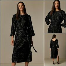 Wallis Dress Size 16 | Black Sequin Belted Midi Style | BNWT | £80 RRP | New!