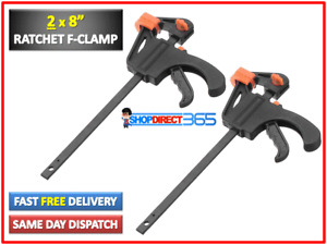 "2 x 200mm 8"" Wood Working Bar F Clamp Grip Ratchet Quick Release Squeeze UK 9-16"