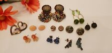 VINTAGE TO FASHION NOW FLOWER, HEART AND RHINESTONE POST EARRINGS LOT