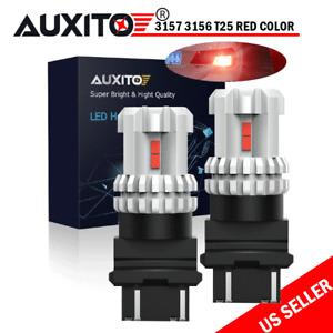 2Pc Red Color Brake Light Bulb 3157R 3757 3457 3057R For Jeep Pontiac Hummer H3
