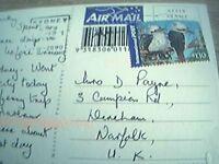 postcard used stamped franked airmail australia $1.10 sydney sea view opera f1g