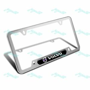 For 1PCS VOLVO Black Silver Stainless Steel Metal License Plate Frame Brand New