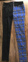 Tripp NYC Punk Black Blue Tartan Plaid Split Personality Jeans Pants Size 26/3