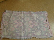 Woven Area Throw Rug Rectangle Floral Grey Pink Fringe Border 42x23 Inch
