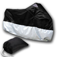 Waterproof Motorbike Motorcycle Bike Outdoor Rain Cover Black Silver XXL +Bag