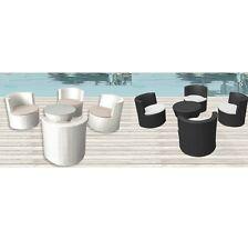 Set 4 poltrone bianco nero cuscino tavolino arredo rattan moderno giardino |444