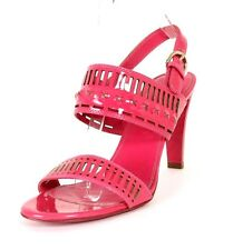 SERGIO ROSSI Strawberry Pink Laser Cut Patent Strappy Heels Sandals 38