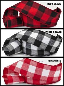 """25 Yards Full Roll Buffalo Plaid heavy gauge Wired Ribbon 2-1/2"""" Choose Color"""