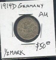 GERMANY - BEAUTIFUL HISTORICAL WILHELM II SILVER 1/2 MARK, 1914 D (GOOD DATE)