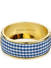 Kate Spade Nwt Striped Check Navy White Bangle Bracelet With Dust Bag Set Sail