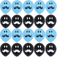 20X Blue&Black Latex Balloons Smile Mustache Birthday Baby shower Party Supplies