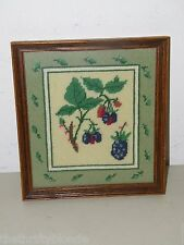 Vintage Framed Needlepoint Finished Blackberry 17380