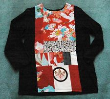 blouse size M tunic style top front made from old Kimonos raw silk body