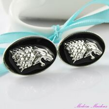 Platinum & Enamel Game of Thrones (GoT) Inspired Wolf Cufflinks 23x17mm