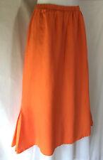 FLAX Jeanne Engelhart Simple Shapely Orange Linen Mid Calf Length Skirt Small S