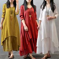 Boho Women Vintage Casual Loose Long Sleeve Linen BOHO A-Line MAXI Shirt Dress