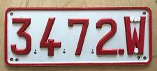 "BELGIUM BRUSSELS  EUROPE  PASSENGER AUTO  LICENSE PLATE "" 3472 W """