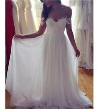 Simple Elegant White Chiffon Wedding Dress Beach Off the Shoulder Wedding Gown