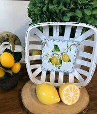 White Square Tobacco Basket Lemon Print