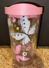 Tervis Tumbler, Butterfly Design, Pink, 16 OZ with Lid