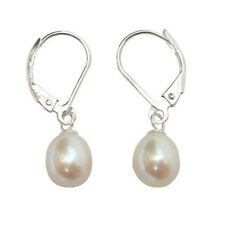 8-9mm White Akoya Cultured Pearl Sterling Silver Leverback Drop Earring  AAA+