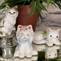 Vintage Cats Kittens China Ceramic 3 Figurines Enesco Nanco Mother's Day Gifts