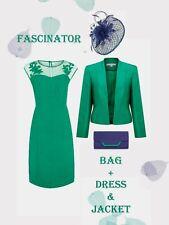 12/14 Jacques Vert Dress Jacket Fascinator Bag Green Blue Mother of the Bride