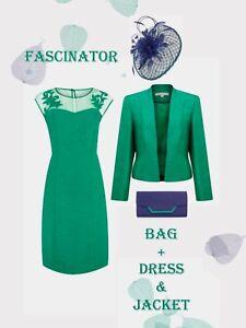 12/14 Jacques Vert Dress Jacket Fascinator Bag Green Navy Mother of the Bride