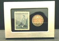 German WWII Rare 10 Rp Brass Coin  & Stamp in a Secure Silver Metal Disp Frame