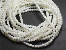 Fil 39cm 170pc env - Perles de Nacre blanche irisée Boules 2mm