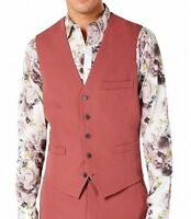 INC Mens Suit Vest Dusty Red Size XS Button Down Tie-Back Slim Fit $59 004