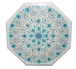 """21"""" White Marble Table Top Semi Precious Stones Turquoise Inlay Home Decor"""