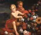 17th CENTURY HUGE FLEMISH OLD MASTER OIL ON CANVAS - PUTTI WITH FLOWERS