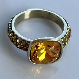 Heidi Daus Solitaire Citrine Crystal Master Pieces Ring Size 7