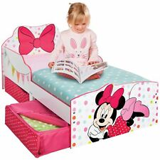 OFFICIAL MINNIE MOUSE TODDLER BED WITH STORAGE BEDROOM CHILDRENS
