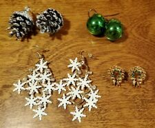 Pine Cones, Bells, Wreaths - Pierced 4 Pairs Christmas Earrings - Snowflakes,