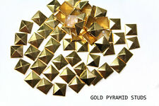DIY Studs - 100 Gold 10 mm Pyramid Square Studs - Iron On, Hot Fix, or Glue On