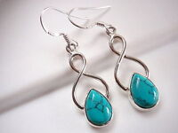 Turquoise Teardrop 925 Sterling Silver Dangle Earrings Corona Sun Jewelry