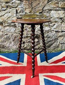 Fabulous Victorian Bobbin Turned Gypsy Table  with Ceramic castors