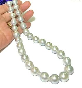 """Natural Silver Blue 11 - 16.5mm 29 pcs Indonesia South Sea Oval Pearl 16"""" Strand"""