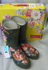 Joules Molly Welly Print Green Lakeside Rose Wellingtons Wellies Festival Size 8