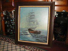Superb L Collton Signed Nautical Oil Painting-Ghost Ship-Empty Row Boat-Seagull