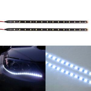 2x White 12V Car Decor Waterproof 12 LED 30cm 5050 SMD Strip Flexible Light Lamp