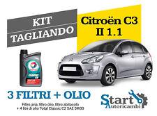 Kit Tagliando Olio Total + Filtri Tecneco Citroen C3 II 1.1 (A51) 44KW