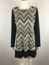 PHILOSOPHY size 16 black and cream long sleeve dress