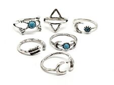 Boho Gypsy 6 Pcs Ring Set Bohemian Ethnic Tribal Jewellery Gift Idea Silver