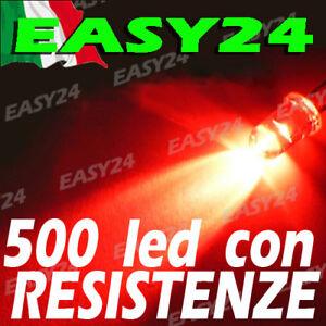 500 DIODI LED ROSSO ROSSI ALTA LUMINOSITA' 20 gradi 5 mm con resistenze