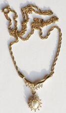 collier bijou vintage signé ROMANE cristal diamant perle couleur or * 3369